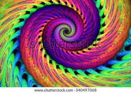 Abstract multicolored psychedelic spiral on black background. Computer-generated fractal in bright rose, green, purple, yellow, orange and blue colors. - stock photo