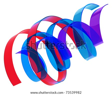 abstract multicolored ribbons isolated over white - stock photo