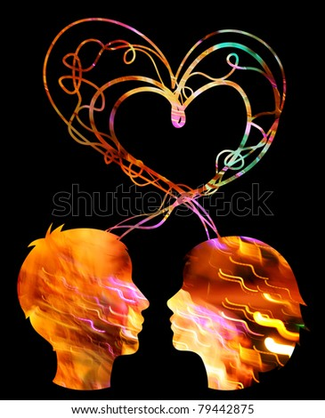 Abstract multicolored silhouette of couple heads, love concept