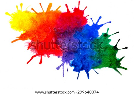 Abstract multicolored spots and streaks, isolated on white background, watercolor and paper texture