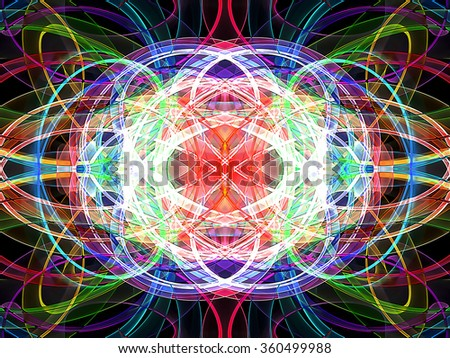 abstract multicolored wavy symmetrical pattern - stock photo
