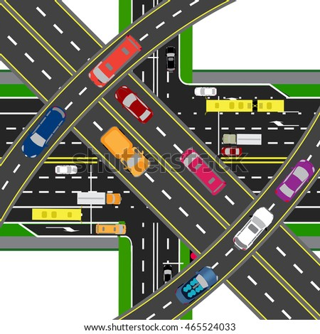 Abstract, multilevel transport hub. The intersections of various roads. Transport. Raster illustration