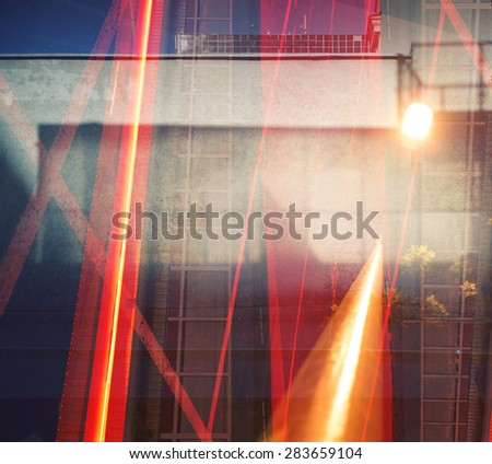 Abstract multiple exposure urban background. - stock photo