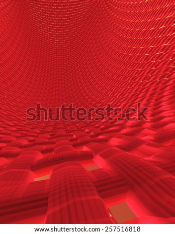 Abstract muscle fiber background and red blood cells flowing in artery - stock photo