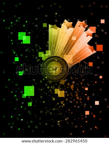 Abstract music background for disco flyer with colorful elements. Ideal for posters and background music. - stock photo
