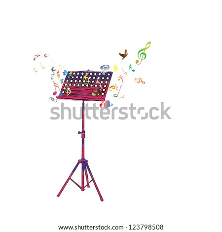Abstract music background in white - stock photo
