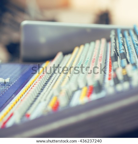 Abstract music background - professional sound mixer - stock photo