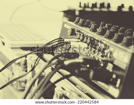 Abstract music background - sound equipment - stock photo