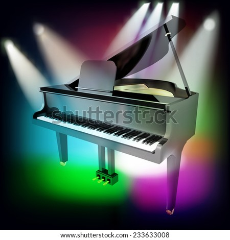 abstract music background with grand piano and spotlights on stage - stock photo