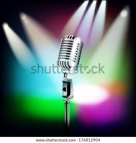 abstract music background with retro microphone and spotlights on stage - stock photo