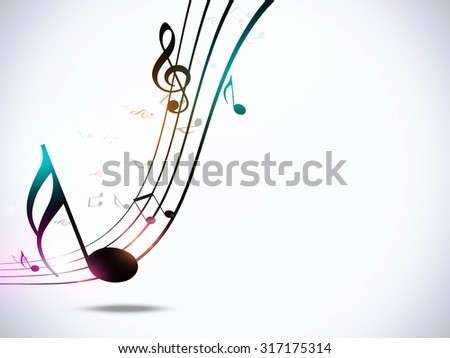 abstract music notes funky multicolor party bright background