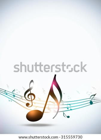 abstract music notes funky multicolor party white background