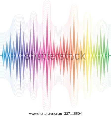 Abstract music rainbow equalizer on white background. Raster version - stock photo