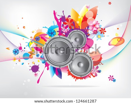 Abstract musical background with floral elements