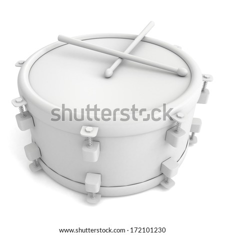 abstract musical instrument concept drum with pair of drumsticks - stock photo