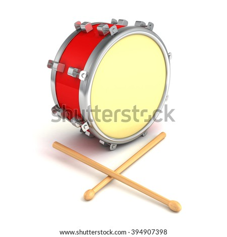 abstract musical instrument concept drum with pair of drumsticks. 3d render illustration
