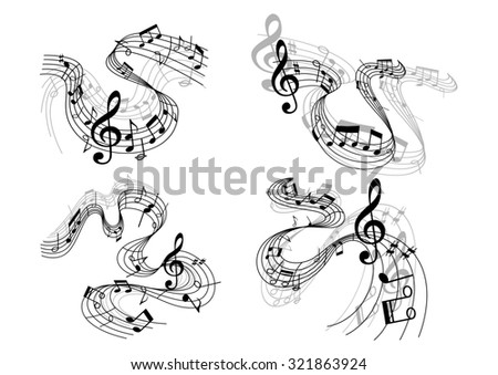Abstract musical melody compositions with treble clef, musical notes and waves, isolated on white background for art, symphony, opera, pop or jazz  - stock photo