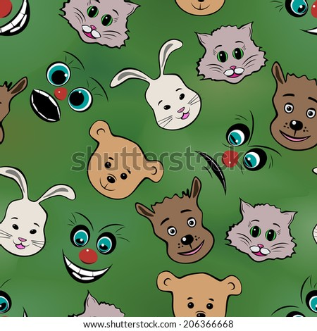 Abstract muzzles of animals and faces pronounced emotions, seamless pattern, raster graphics - stock photo