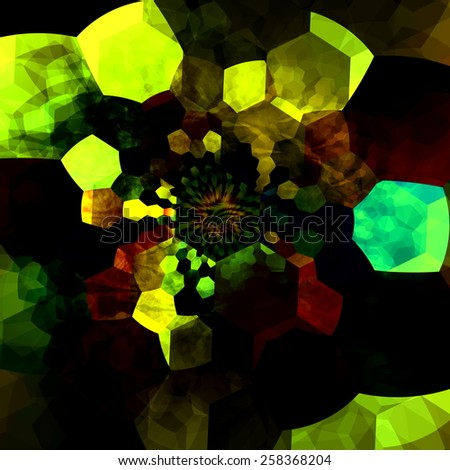 Abstract Mysterious Mosaic Illustration. Creative Fantasy Background. Black Green Colors. Geometric Pattern. Digital Fractal. Surreal Artistic Polygonal Artwork. Many Chaotic and Psychedelic Pieces. - stock photo