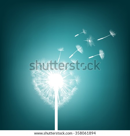 Abstract natural background. Glowing dandelion in the form of heart. Stock illustration. - stock photo