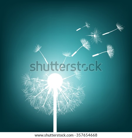 Abstract natural background. Glowing dandelion. Stock illustration.