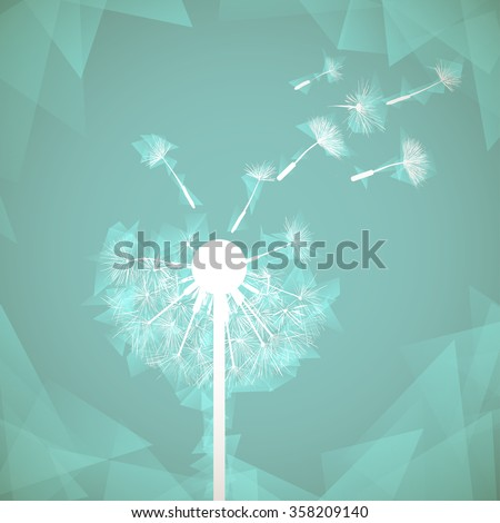 Abstract natural background. Glowing dandelion. Stock illustration. - stock photo
