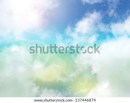 Abstract natural background with clouds and bokeh lights - stock photo