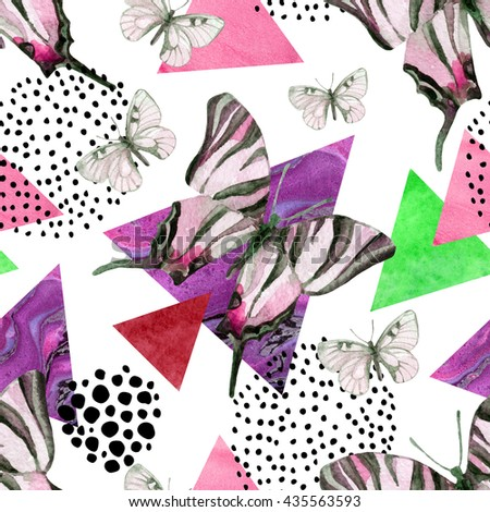 Abstract natural geometric seamless pattern. Triangles with butterfly and marble grunge textures. Abstract geometric background in retro vintage 80s 90s pop art. Hand drawn summer natural illustration