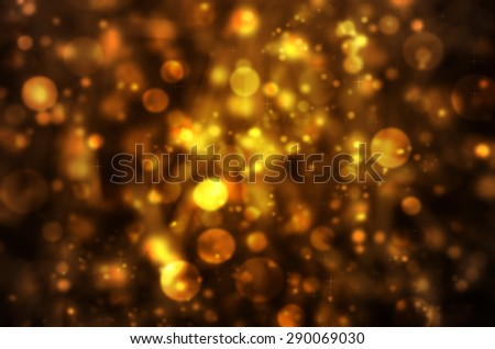 Abstract Natural Glitter Snowflake Goldeb Brown Bokeh on Dry Grass for Texture Background - stock photo