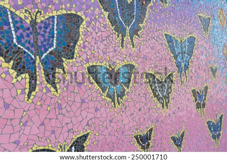 Abstract, Natural pattern ceramic tile in Wat Ban Rai , Nakhon Ratchasima province, Thailand. - stock photo