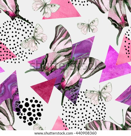 Abstract natural seamless pattern. Triangles with butterfly and marble grunge textures. Geometric background in retro vintage 80s 90s pop art. Hand drawn summer illustration