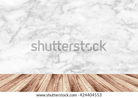 Abstract Natural wood table texture on white marble background : Top view of plank wood for graphic stand product, interior design or montage display your product