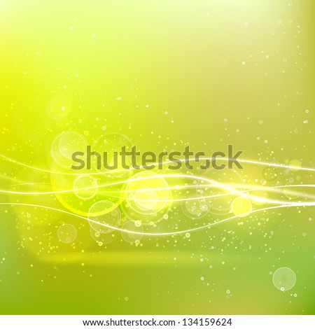 Abstract nature background spring greens. Illustration. - stock photo
