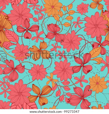 Abstract Nature Pattern with plants, flowers. Endless pattern can be used for wallpaper, pattern fills, web page background, surface textures.