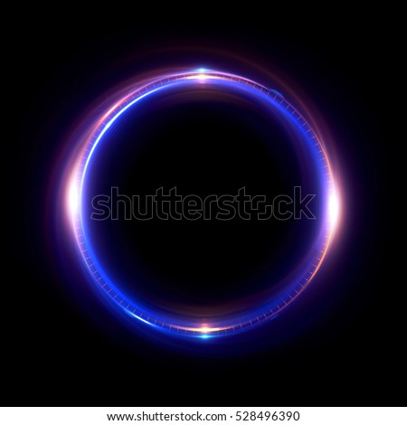 Abstract neon background. luminous swirling bunner. Glowing spiral.  Shine round frame with light circles light effect. Glowing cover.  Space for your message. Glossy. LED ellipse