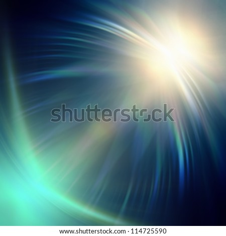 abstract neon blue rays lights over dark background - stock photo