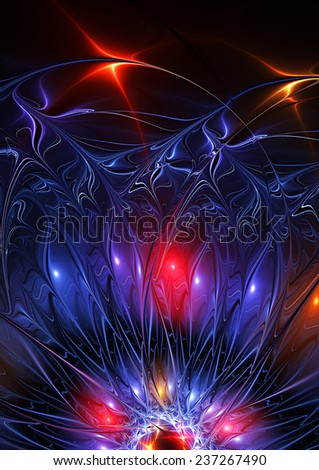Abstract neon illuminated magic flower on black. Glowing blue background. Digital artwork for creative design. Artistic decoration for wallpaper desktop, poster, cover booklet, flyer. Fractal art - stock photo