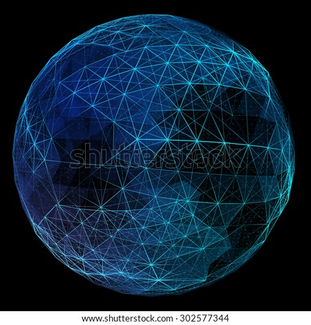 Abstract network globe. Technology concept of global communication. - stock photo