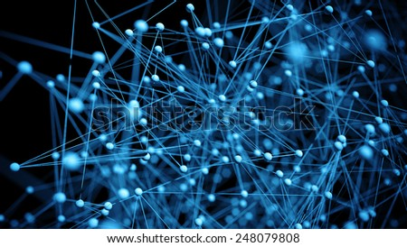 Abstract network molecule background - 3d visualisation - stock photo