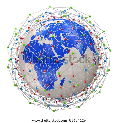 Abstract Network Planet isolated on white background - stock photo