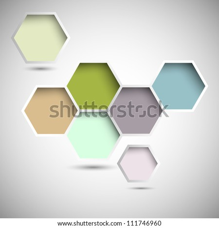 Abstract new design hexagons background. Raster version - stock photo