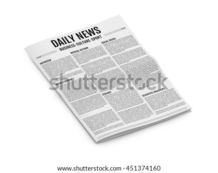 Abstract newspaper isolated on white background. 3D illustration of tabloid. Isometric view