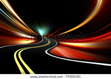 abstract night acceleration speed motion - stock photo