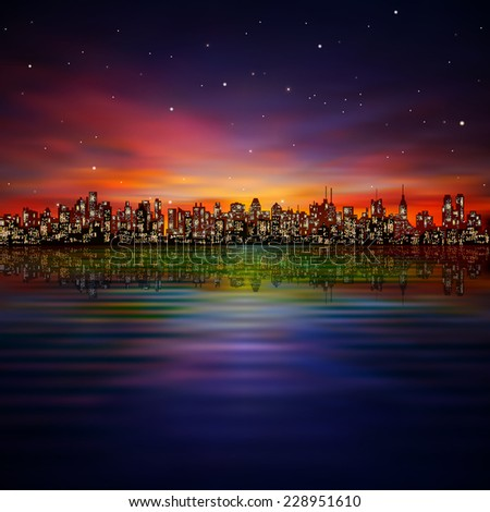 abstract night background with silhouette of city and sunset - stock photo