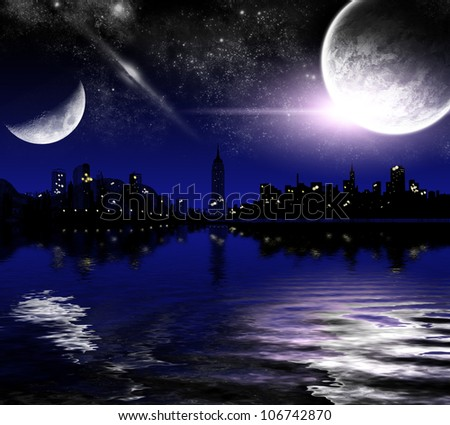 abstract night city, amid the lake and the planets - stock photo