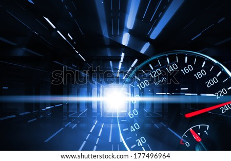 Abstract night racing illustration with neon lights and speedometer - stock photo