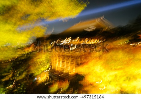 Abstract Night View with Maple in Kiyomizu Dera Temple , Kyoto , Japan.