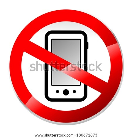 abstract no phones or electrical devices sign