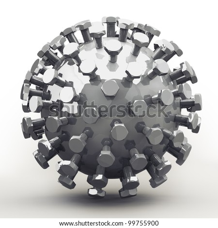 Abstract object of bolts on zinc plated sphere. Nice mechanical concept for any metalworking and engineering subject. - stock photo