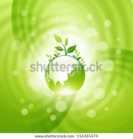 Abstract of a green globe with seedlings - stock photo